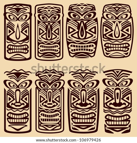 Vector Tiki Masks
