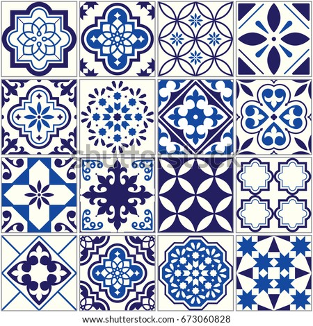 vector tile pattern  lisbon
