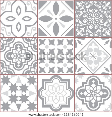 Vector tiles design, Azulejo seamless pattern, abstract and floral decoration inspired by tranditional tile art from Portugal and Spain. Gray Lisbon old mosaic, retro tiles background