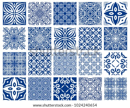 Vector tiles patterns. Seamless flourish backgrounds with blue flourish elements. Arabic decorative design for floor or wall. Square symmetrical ornament. Azulejos oriental illustration.