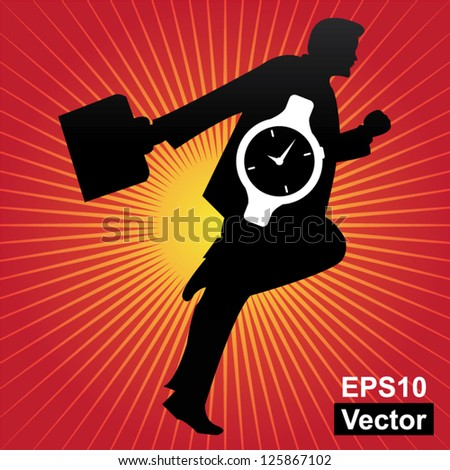 Vector : Time Management Concept Present By The Businessman and Hand Watch Inside in Red Shiny Background