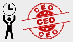 Vector time manager pictogram and Ceo seal stamp. Red rounded grunge seal stamp with Ceo text. Vector composition for time manager in flat style. Black isolated time manager icon.