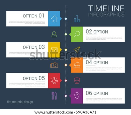 Vector timeline info graphic with line icons
