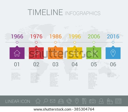 Vector timeline info graphic with world map