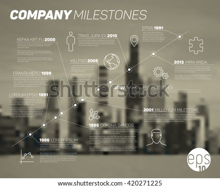 Vector timeline Infographic Diagonal  report template  with icons and  blurred city background. Urban version