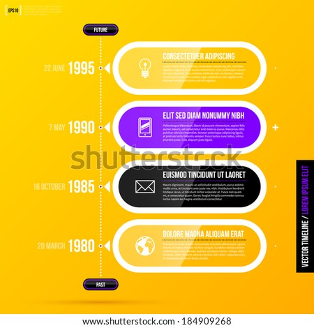 Vector timeline template with glossy transparent elements on bright yellow background in modern corporate style. EPS10 - stock vector