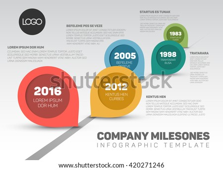 Vector timeline with Milestones and retro pointers. Colorful template design