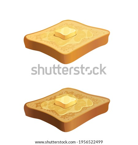 Vector toast with butter piace on top.  Illustration of melting yellow butter on top of slices of hot toasted bread isolated on white Stock fotó ©
