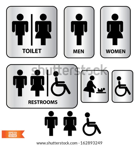 Vector Toilet Sign With Black And Silver Color Man Women Baby Changing