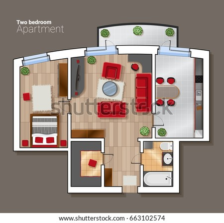 Vector top view floor plan of the house room. Modern dining room, bedroom and bathroom interior with furniture. #663102574
