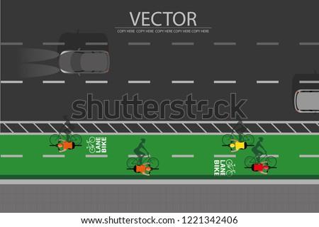 vector top view lane bike symbol on the street