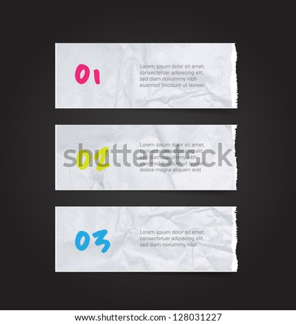 Vector torn and crumpled white paper banners / tags collection