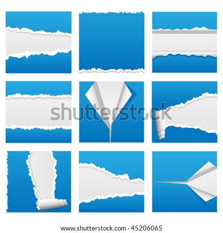 Vector torn paper design elements for web, presentations or computer applications. Rip, tear and peel variations included. JPG and TIFF versions of this image are also available in my portfolio.