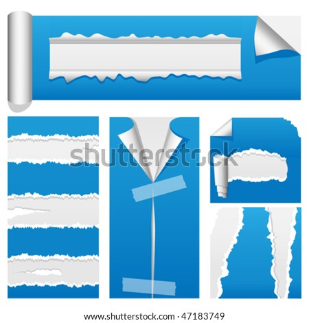 Vector torn paper design elements suitable for web or presentations. Rip, tear and peel variations included. JPG and TIFF versions of this vector illustration are also available in my portfolio