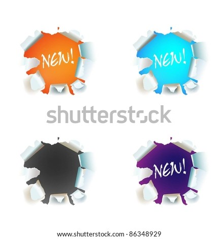 vector torn paper label - stock vector