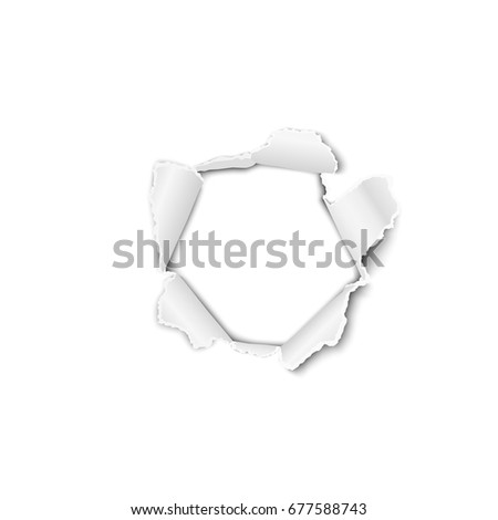 Vector torn paper with curled edges and hole in the center, soft shadow and space for text. Damaged sheet with white background for ad and other aims. Template paper design.