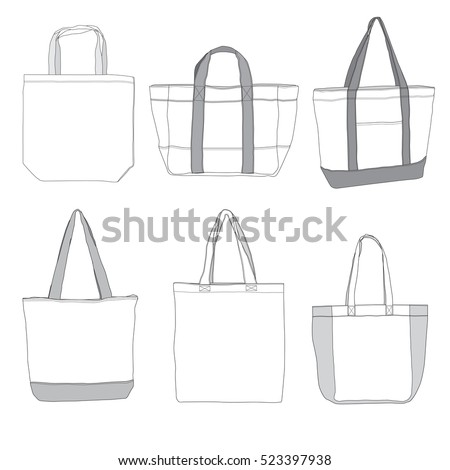 Vector Tote Bag illustrations for Mock up.