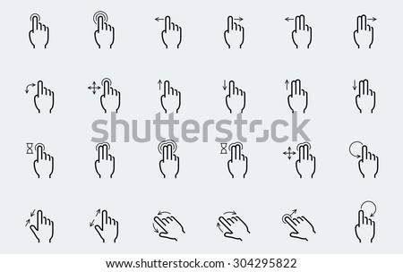 Vector touch screen gestures icons in thin line style