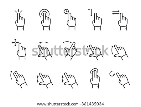 Vector touch screen gestures icons set // Black & White