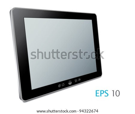 Vector Touch screen tablet computer with blank screen Isolated on white