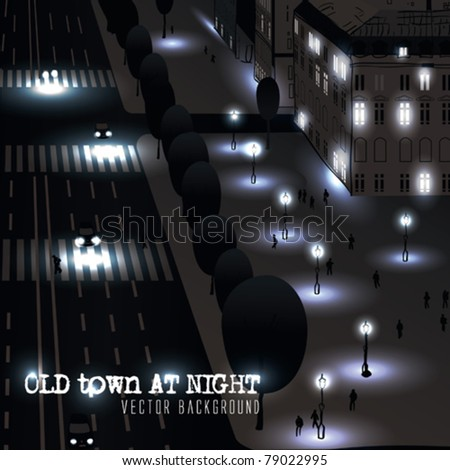 vector town at night