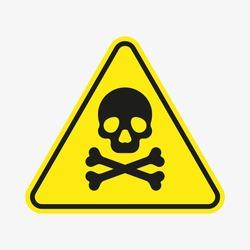 Vector toxic poison icon isolated on white background. Yellow triangle warning symbol. Poison, acid, toxic, caution icon. Skull and crossbones.