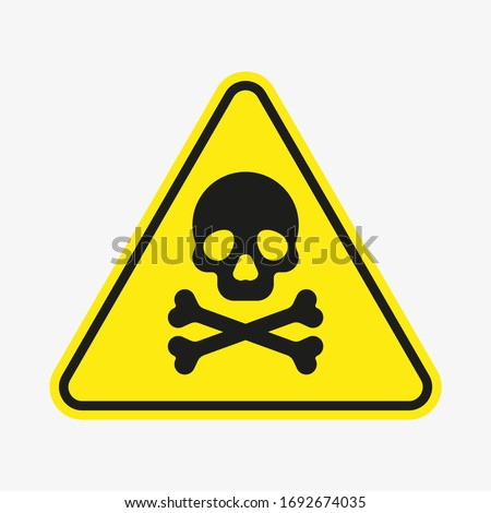 Vector toxic poison icon isolated on white background. Yellow triangle warning symbol. Poison, acid, toxic, caution icon. Skull and crossbones. Stock fotó ©