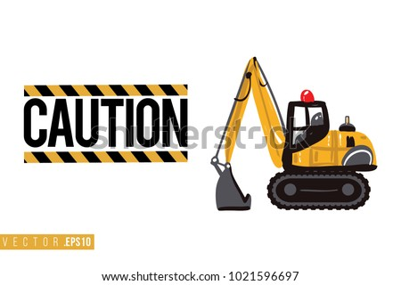 stock-vector-vector-toy-crawler-excavator-with-motivational-text-caution-sign-construction-machinery