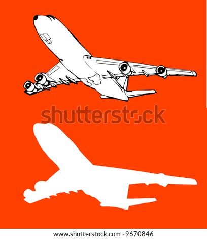 vector trace of airplane in flight