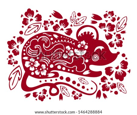 Vector traditional papercut silhouette with stylized mouse and decorative flowers. Illustration for Chinese New Year 2020. The Year of the Rat. Red on white background