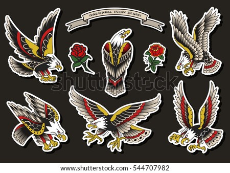 Eagle tattoo download free vector art stock graphics images vector traditional tattoo eagles set american tattooing culture designs flash maxwellsz