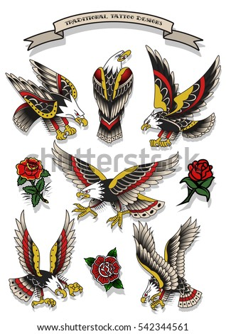Vector Traditional Tattoo Eagles Set Tattooing Designs Flash