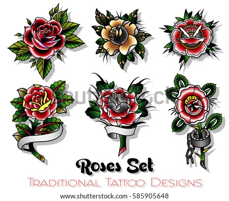 Vector Traditional Tattoo Roses Designs Set