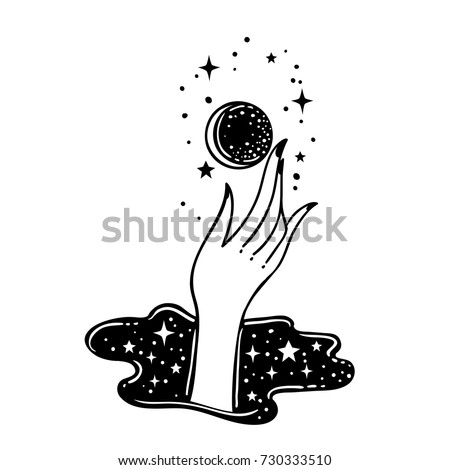 Vector traditional tattoo style. Hand is holding moon. Vector illustration  isolated. Tattoo design, astrology, occult, alchemy, mystic, magic symbol for your use.