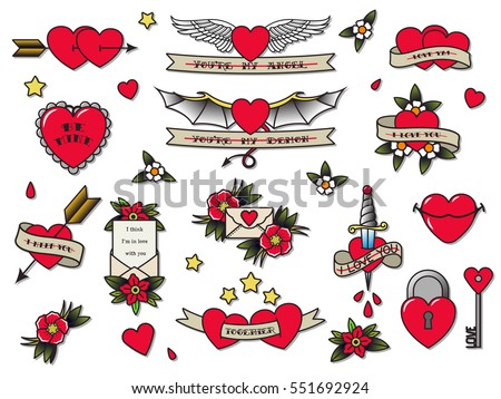 5a9859b0d Vector Traditional Tattoo Valentine's Day Flash Set Tattooing Flowers,  Hearts, Wings, Ribbons,