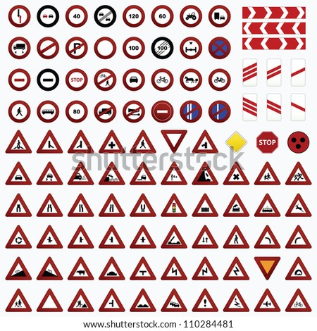 Vector traffic sign set