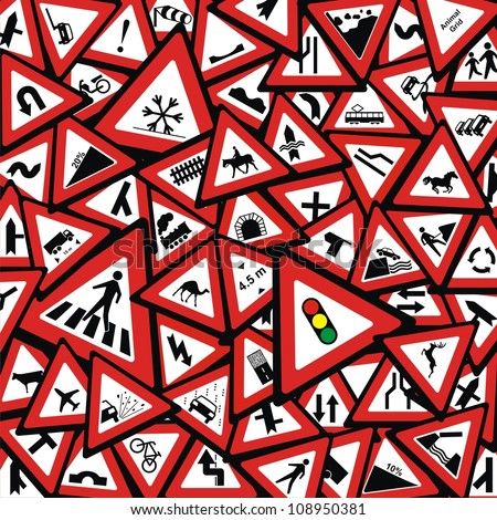 VECTOR - Traffic Signs Background - stock vector