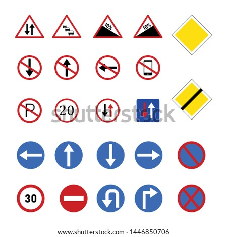 Vector traffic symbols for mobile and computer isolated white background #1446850706