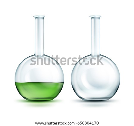 Vector transparent empty and full off green liquid flasks isolated on background Stock photo ©