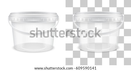 Vector transparent empty plastic bucket for storage of food, honey or ice cream. Front view. Packaging template illustration.