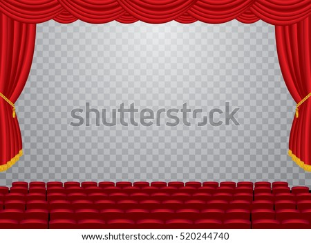 Vector Transparent Empty Stage With Red Curtain And Auditorium Layered Editable