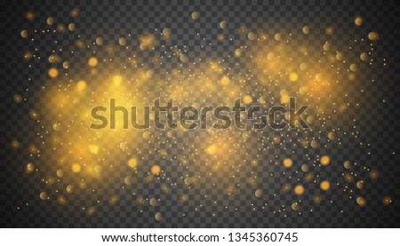 Vector transparent glow light effect.Gold glitter powder splash background. Golden dust. Magic mist glowing.  Use  for promotion materials, brochures, banners. Abstract Backdrop,