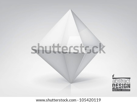 Vector transparent octahedron for your graphic design, you can change colors for the background - stock vector