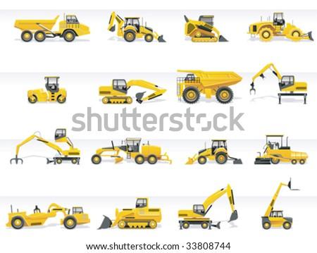 Vector transportation icon set. Tractors