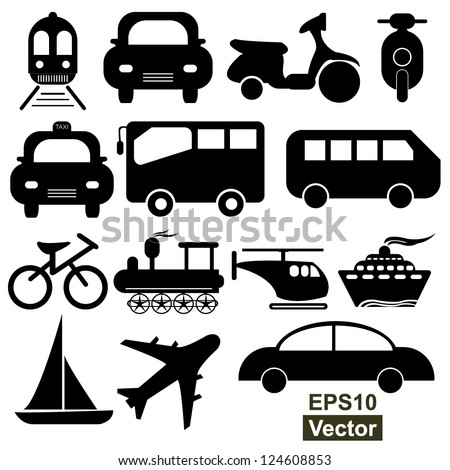 Vector : Transportation Icons Set  Isolated on White Background