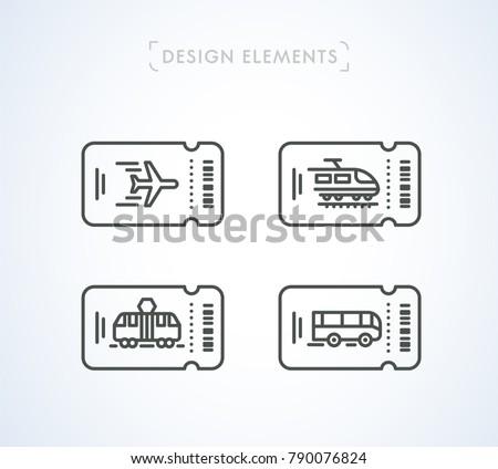 vector transportation tickets