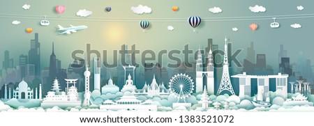 Vector travel architecture landmarks of Asia with skyscraper and sunrise, Travel Asian famous capital panorama city popular tower landmark Thailand,Singapore,China,Japan,Malaysia,India,cambodia.