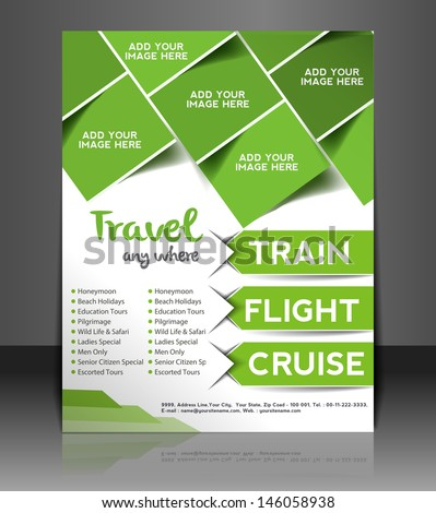 Vector Travel brochure, flyer, magazine cover & poster template