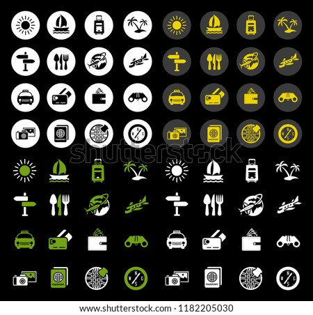 vector travel icons set - hotel and tourism vacation sign symbols - holiday icons