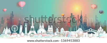 Vector travel landmarks of Europe with skyscraper and colorful sunrise, Traveling world famous capital architecture panorama city popular tower landmark, Origami paper art gradient for postcard tour.